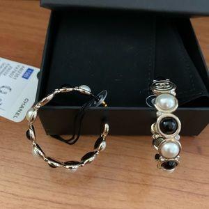 Chanel Lg CC Logo Black Pearl Hoop Dangle Earrings